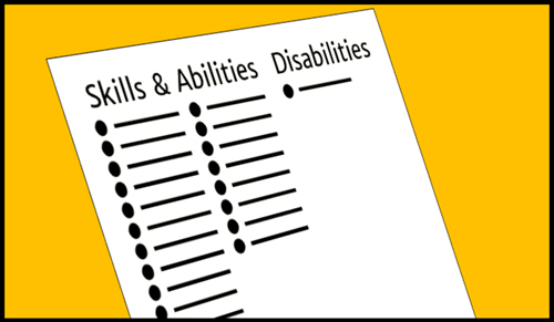 A long list of candidate skills and abilities are listed as bullet points. In an adjacent column is a single bullet point under the heading 'disabilities'.