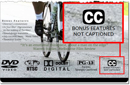 """The back of a DVD movie case. Highlighed from the back cover material is """"Closed Captioned"""" and """"Bonus Features Not Captioned"""""""
