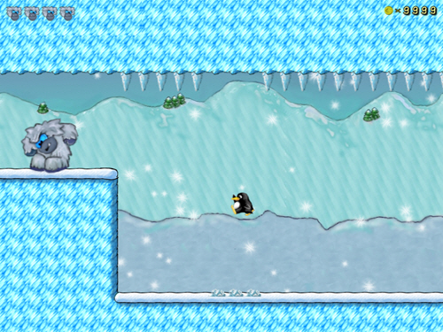 Approaching the boss. Screen shot from a computer game where the tiny penguin tackles the huge yeti-like boss.