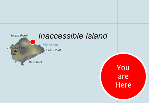 A cartographic map showing Inaccessible Island in the South Atlantic. A label is applied: You are here.