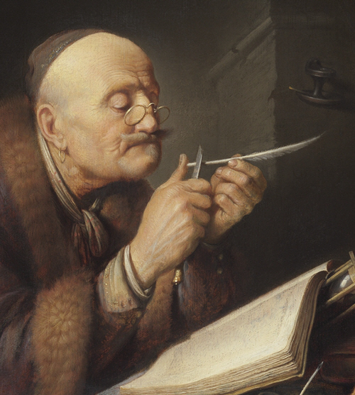 In the sixteen hundreds, a scholar sharpens his quill with a blade.